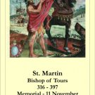 St. Martin of Tours Prayer Card PC#274