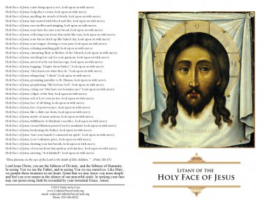 Litany of the Holy Face of Jesus  #LITANY
