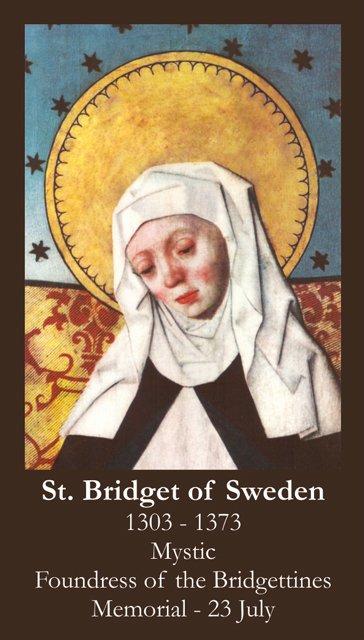 St. Bridget of Sweden Prayer Card PC# 573