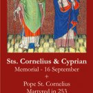 Sts. Cornelius & Cyprian Prayer Card PC# 578