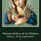*SPANISH* Our Lady of Sorrows Prayer Card PC#427