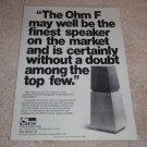 Ohm F Speaker Ad, 1977,Amazing Speaker! rare!
