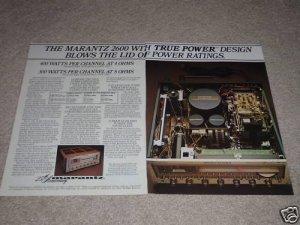 Marantz 2600 SUPER Receiver Ad,1978,inside,specs,2 pgs