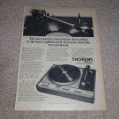 Thorens TD-125 Mk II Turntable Ad, Article, 1974, RARE!