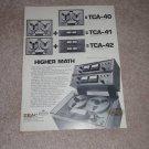 Teac TCA-40,41,42 RA-41 Pro line Open Reel Ad 1970