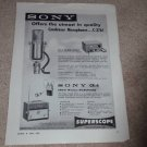 Sony C-37a Microphone Ad,cp-2 PS,CR-4 wireless Ad,specs