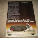 Technics D-Series Turntable Ad from 1979