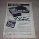 Scott Stroboscopic710-A Turntable Ad,1955,Article,specs