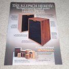 Klipsch Heresy Speaker Ad,color,Beautiful! Entire Line