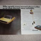 Garrard Zero 100c Turntable Ad from 1974, 2 pages, RARE