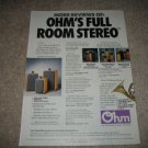 OHM Coherent Speakers Ad from 1989,FRS,XO Lines also