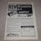 Extron Transistor Amp Ad, 1958, Very Rare! Specs,Articl