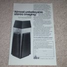 """dbx Soundfield One Speaker Ad,1985, Article, 6""""x9"""""""