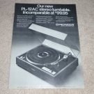 Pioneer Turntable Ad, 1972, PL-12ac, Article, 1 pg