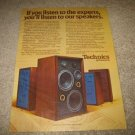 Technics T-500,200,300,400 Speakers Ad from 1975