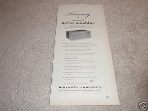 Marantz Power Amplifier Ad from 1955,RARE! TUBES, WOW!