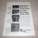 Onkyo TX-560,330 Receiver,Model 8,25a Spkr Ad from 1974
