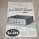 Scott 99 Amplifier Ad, 1956, Full Specs, Article, RARE!