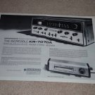 Kenwood KR-7070A Receiver Ad, 1969, 2 pgs, Specs, Info