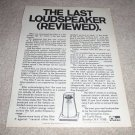 Ohm F speaker Ad from 1970, article,specs,RARE!
