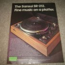 Sansui SR-212 Turntable ad from 1974,color,perfect!