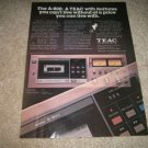 Teac A-800 Cassette Deck AD from 1979,Color,Perfect!