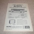 Altec 310a Tuner,Carmel Speaker Ad from 1961,specs,TUBE