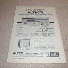 Altec 310a Tuner,Carmel Speaker Ad from 1961,specs,TUBE