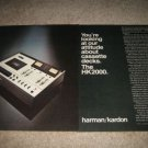 Harman Kardon HK2000 Cassette Deck Ad from 1976,2 pgs