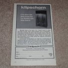 "Klipsch Klipschorn Speaker Ad, 1977,6""x9"" Beautiful!"