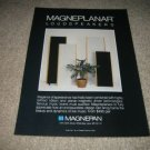 Magnepan Speakers Ad from 1989,RARE! Magneplanars