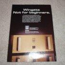 Wingate 2000a Class A Amplifier Ad, 1986, specs