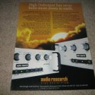 Audio Research SP14,SP9 Preamps,TUBE Ad from 1989