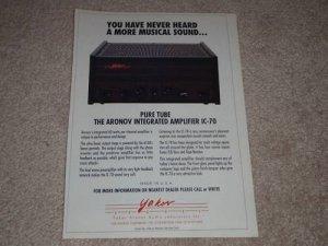 Yakov Aronov IC-70 Tube Amplifier Ad, 1993, Article