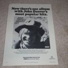 John Denver's Greatest Hits Record Ad, 1974,Original Ad