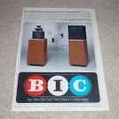 BIC SoundSpan Speaker Ad,1980, Very Rare! 1 page