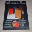 Avid Speaker Ad, 1973, colorful!103,102,100 Models