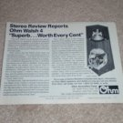"Ohm Walsh 4 Speaker AD, 1984, 6""x8"" Article,Rare!"