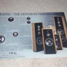 Infinity Kappa Series Ad,1987,Beautiful 2 pg Ad,Article