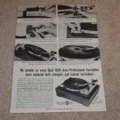 Dual 1009 Turntable Ad, 1965, Article, Pics, Specs
