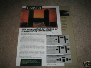 """Carver Cinema System Speakers Ad from 1997 11""""x13"""""""