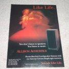 Allison Acoustics Convex Diaphragm Speaker Ad, 1993