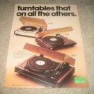 Sansui SR717,SR525,FR3080 Turntable Ad 1976