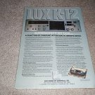 Lux Audio K-12 Cassette Deck Ad from 1980