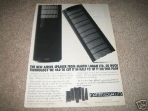 Martin Logan Aerius AD from 1992,Mint RARE!