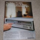 Onkyo TX-4000 Receiver Ad, 1981,Article,1 page,color