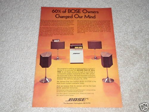 Bose 1801 Power Amp Ad, 1975, 901 Speakers, Article