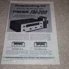 Fisher FM-200 Tube Tuner Ad,1960,specs,article,100,50