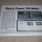Phase Linear 700 Amplifier Ad,1973,specs,RARE! Carver