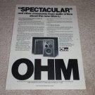 OHM L Speaker Ad, 1977, Article, Beautiful Ad!